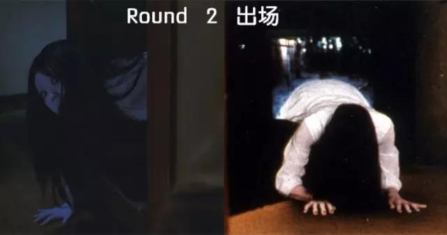 但她从电视机里爬出来的创意,至今无人能敌. 第二轮,贞子胜!图片