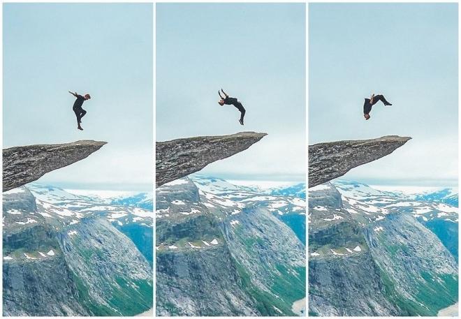 21岁小伙悬崖边上玩后空翻,声称这是最后一次进行这样的表演