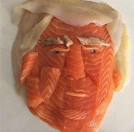 生鱼片雕拼川普,希拉里隔空被喊
